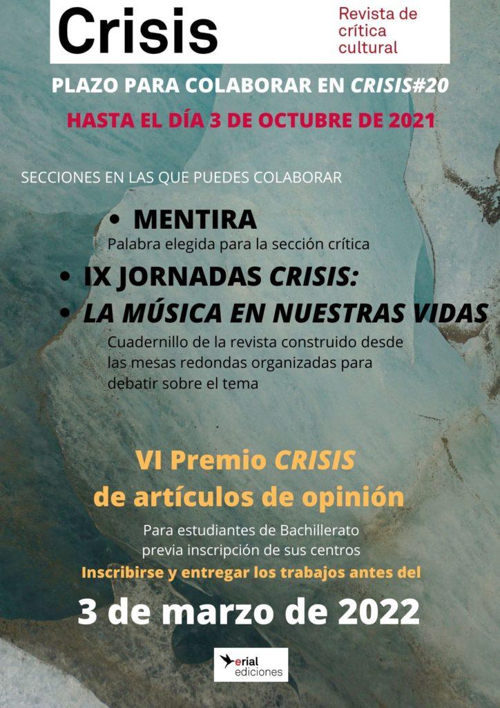 3 de octubre: Fin de plazo para colaborar con la revista CRISIS